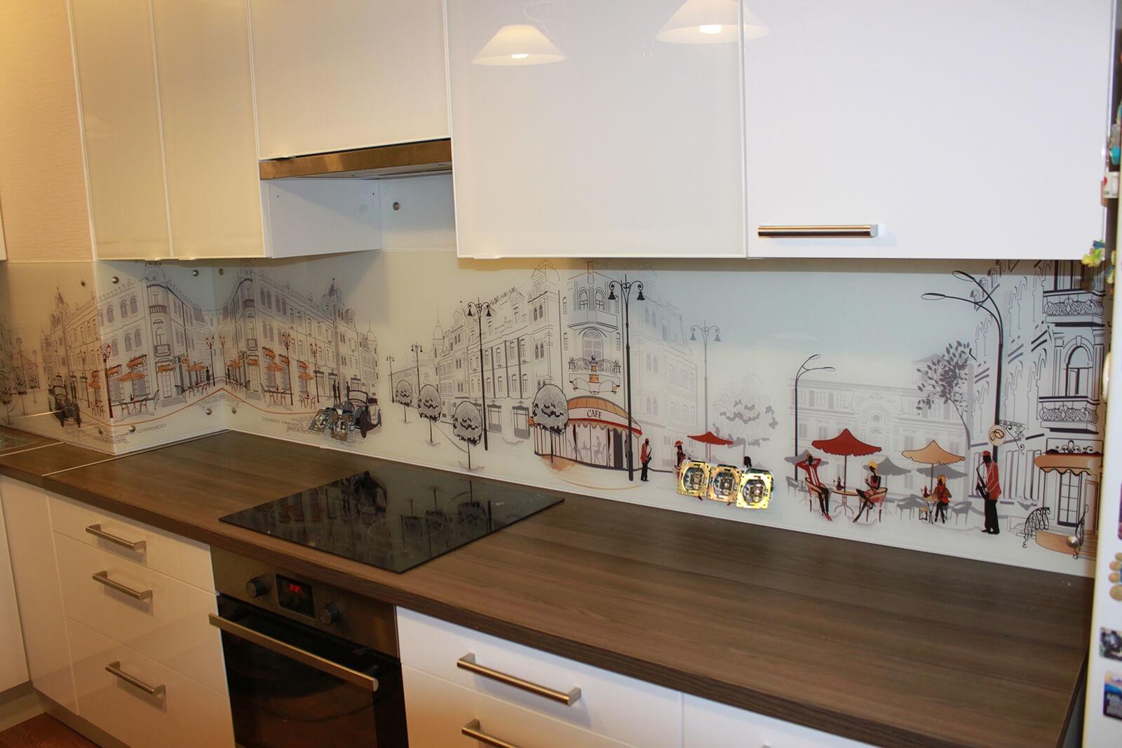 Рисунок города для фартука на кухню